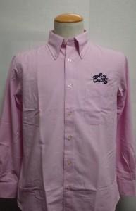 オックスフォードボタンダウンシャツ長袖(ピンク)刺繍ネイビー